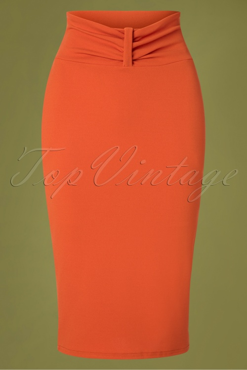 Vintage Chic 31168 Pencil Skirt in Orange 20190726 002W