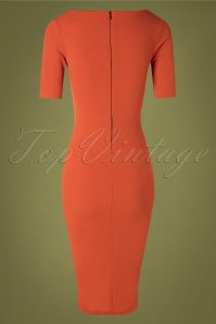 Vintage Chic 31159 Pencil Dress in Summer Fig Orange 20190729 006W