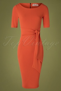 Vintage Chic 31159 Pencil Dress in Summer Fig Orange 20190729 001W