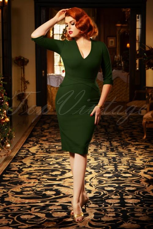 Vintage Diva 29624 Lauren Pencil Dress in Green 20190408 5W