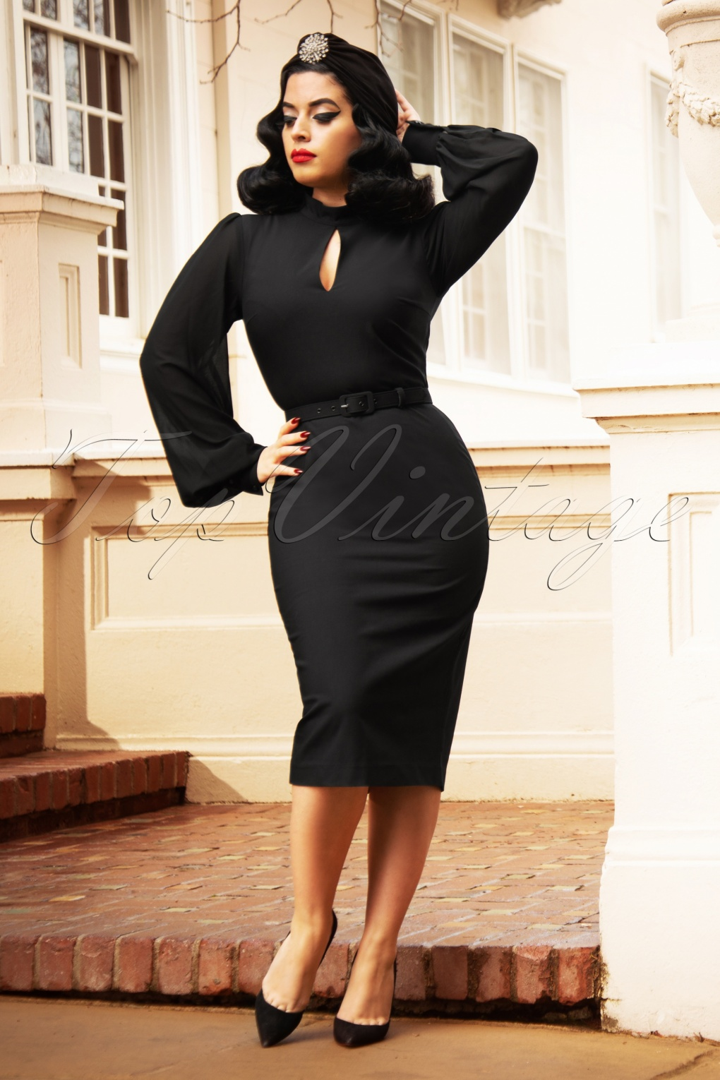 Rockabilly Dresses | Rockabilly Clothing | Viva Las Vegas The Gloria Pencil Dress in Black £96.74 AT vintagedancer.com