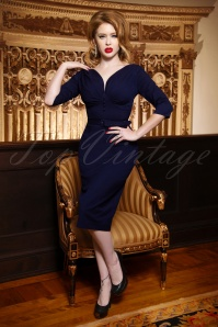 The Jane Pencil Dress en Bleu Marine
