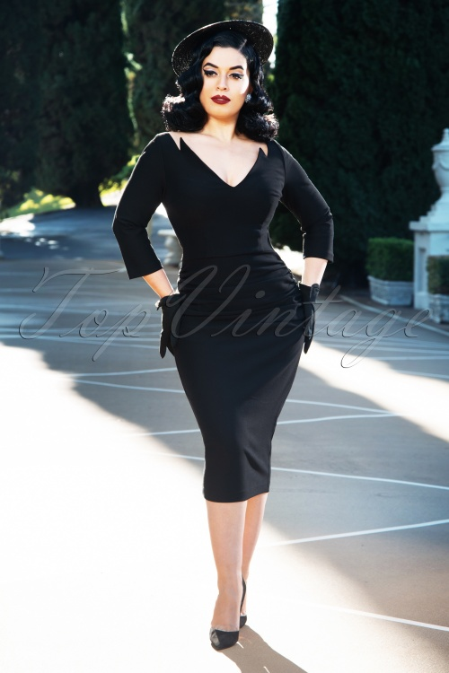 Vintage Diva 29629 Diane Pencil Dress in Black 20190408 3W