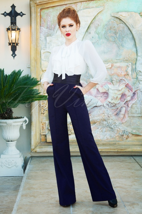 Vintage Diva 29634 Chloe Swing Pants in Navy 20190410 1W
