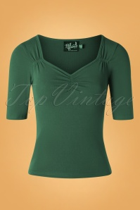 50s Philippa Top in Dark Green