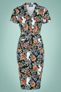 Caterina Forest Floral Pencil Dress Années 40 en Noir