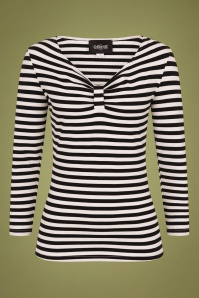 Collectif 29819 Saskia Striped T shirt in Black and White 20190430 021LW