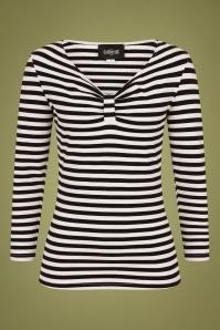 Collectif 29819 Saskia Striped T shirt in Black and White 20190430 021LW