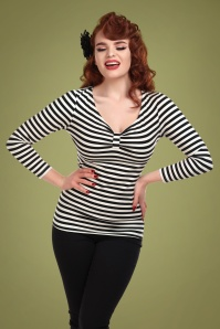 Collectif 29819 Saskia Striped T shirt in Black and White 20190430 020L