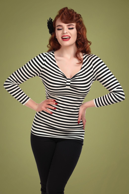 Saskia Striped Top Années 50 en Noir et Blanc