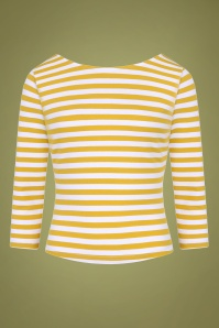 50s Twinnie Striped Top in Mustard