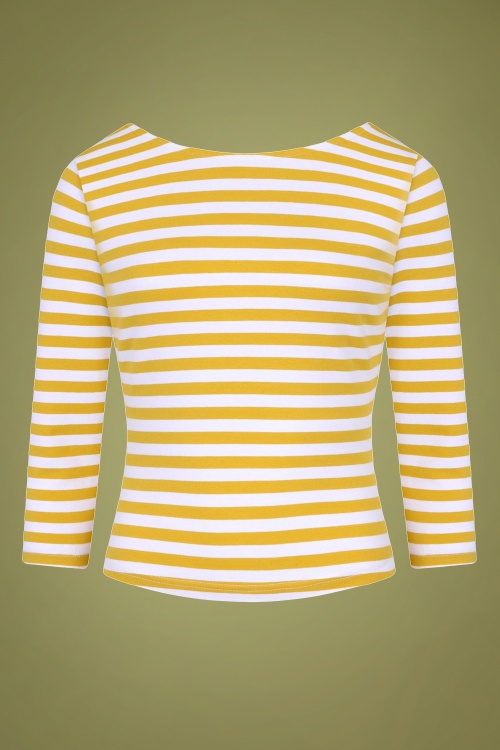 Collectif 29826 Twinnie Striped T shirt in Mustard 20190430 021LW
