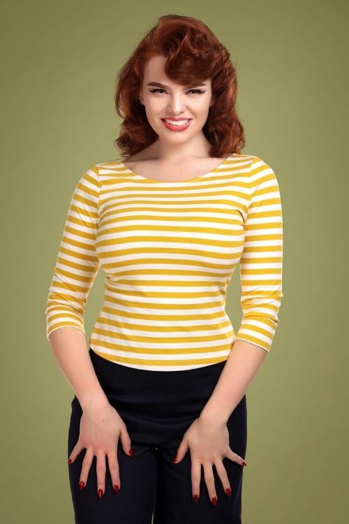 Collectif 29826 Twinnie Striped T shirt in Mustard 20190430 020LW