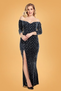 50s Anjelica Velvet Sparkle Maxi Dress in Charcoal