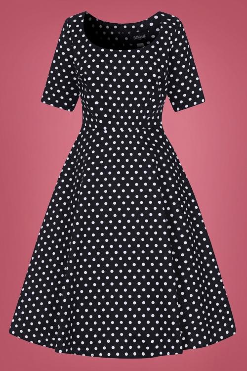 Collectif 29852 Amber Polkadot Swing Dress in Black 20190730 020LW