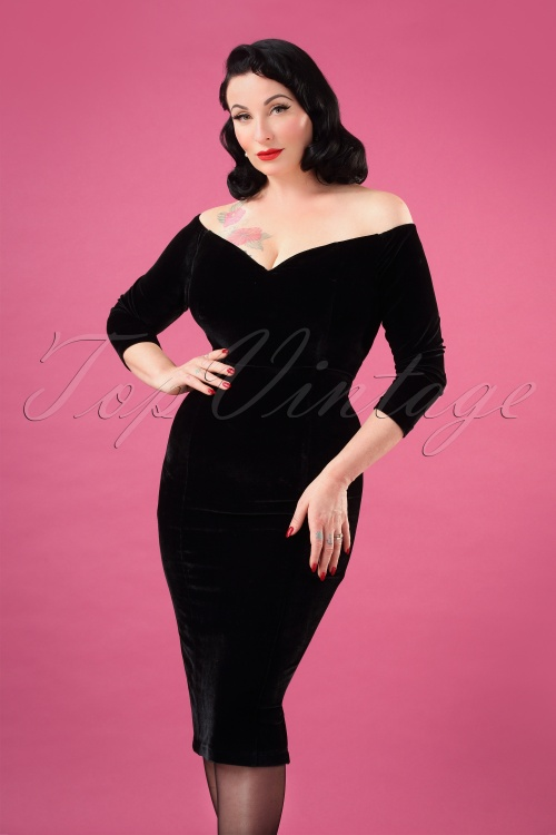 Collectif 29828 Anjelica Pencil Dress in Black 20190730 1W