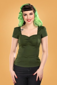 50s Mimi Top in Seaweed Green