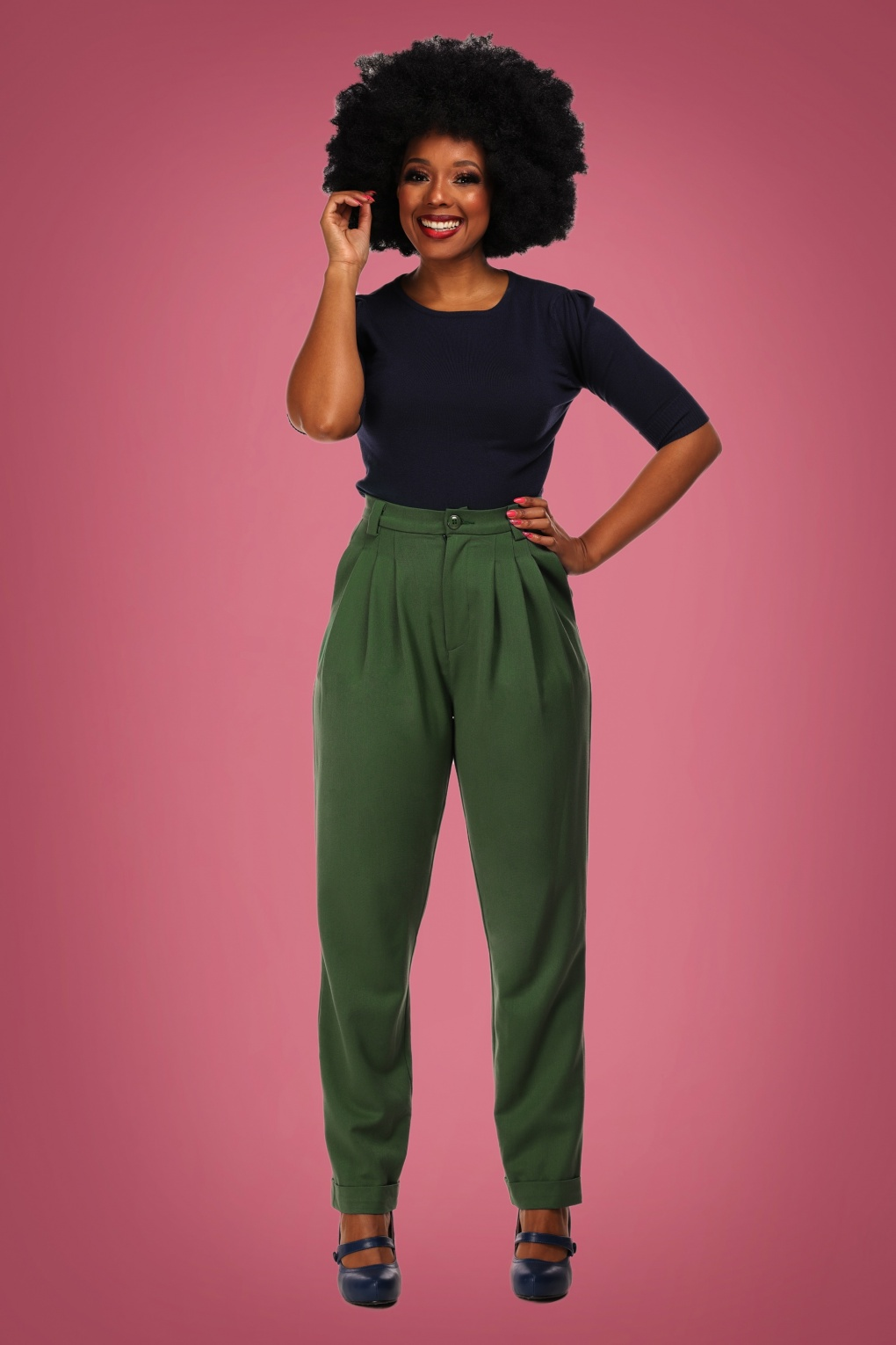 1940s Swing Pants & Sailor Trousers- Wide Leg, High Waist 40s Janine Trousers in Green £49.56 AT vintagedancer.com