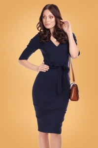 50s Meadow Pencil Dress in Navy