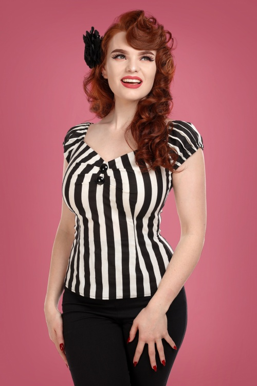 Collectif 29820 Dolores Striped Top in Black and White 20190430 020W