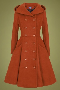 Collectif 29894 Heather Hooded Swing Coat in Burnt Orange 20190430 021LW