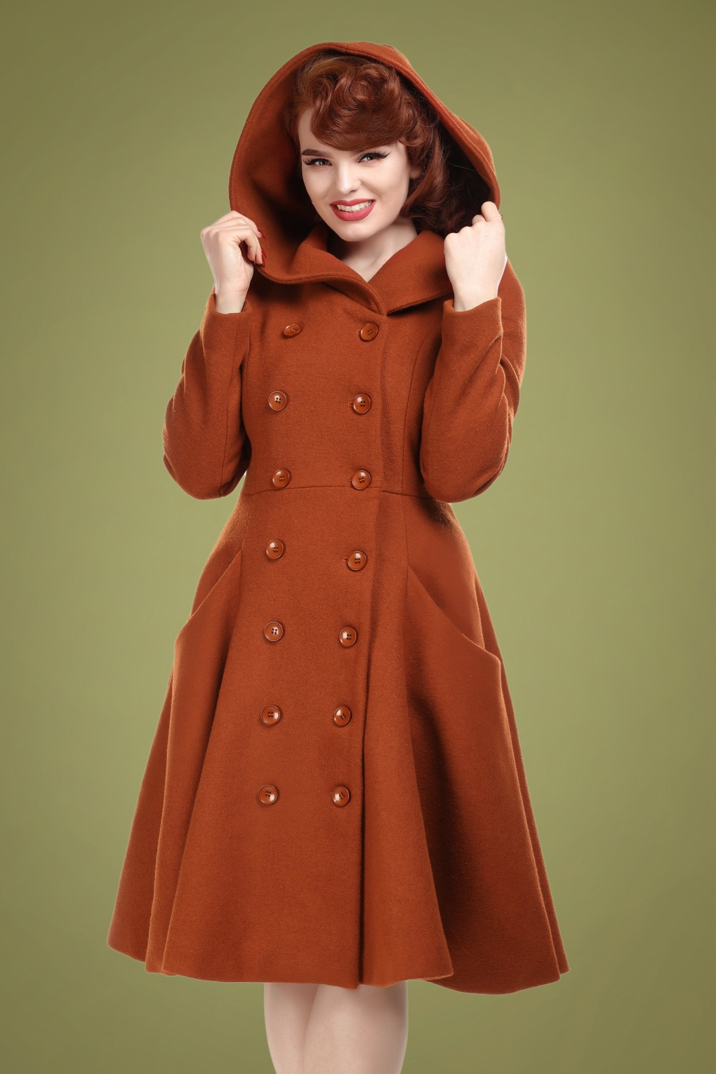 Vintage Coats & Jackets | Retro Coats and Jackets 50s Heather Hooded Swing Coat in Burnt Orange £161.59 AT vintagedancer.com