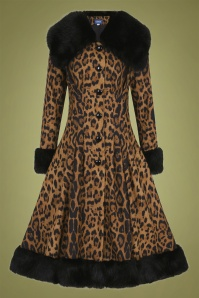 Collectif Clothing 30s Pearl Coat in Leopard