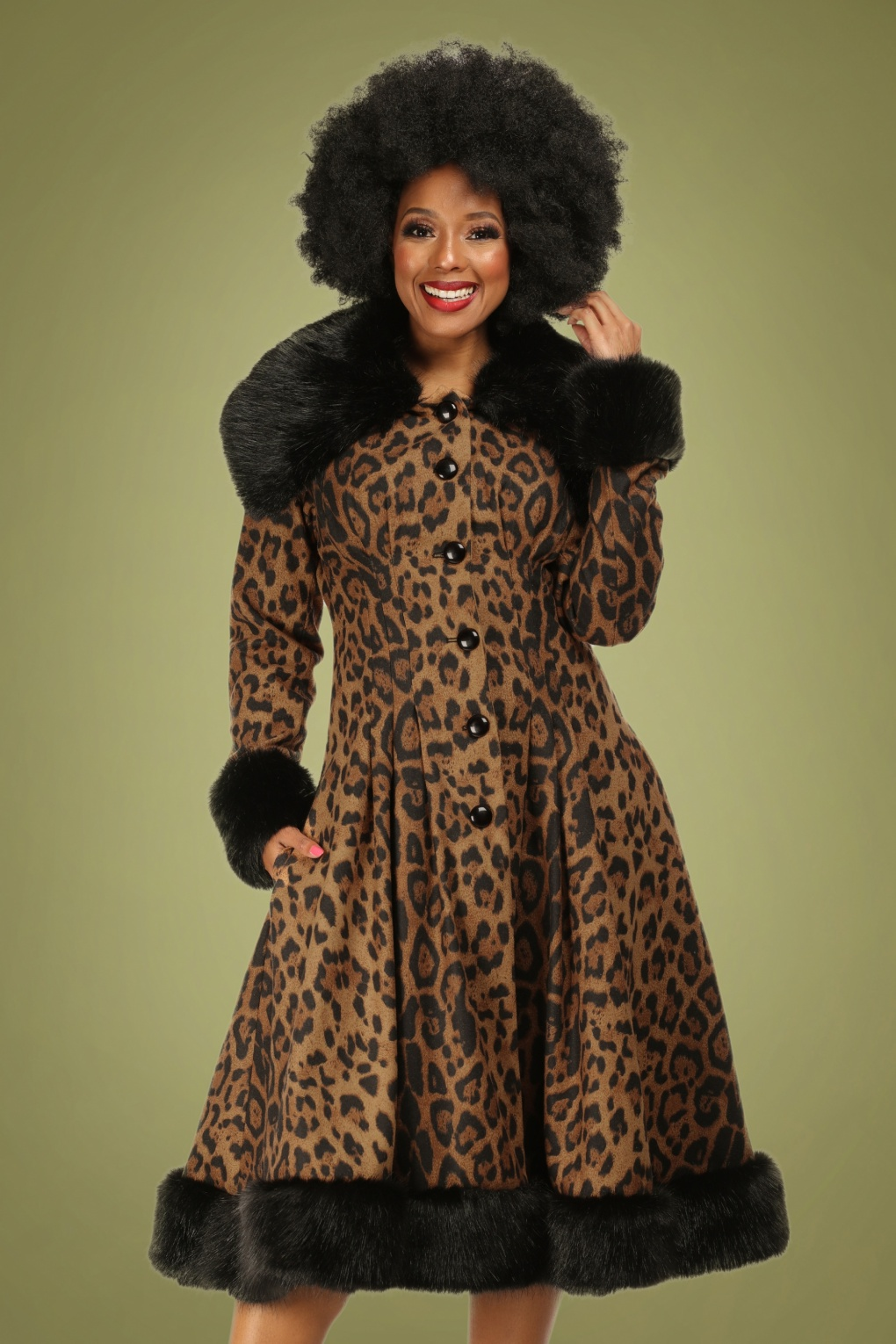 1930s Style Coats, Jackets | Art Deco Outerwear 30s Pearl Coat in Leopard £203.77 AT vintagedancer.com