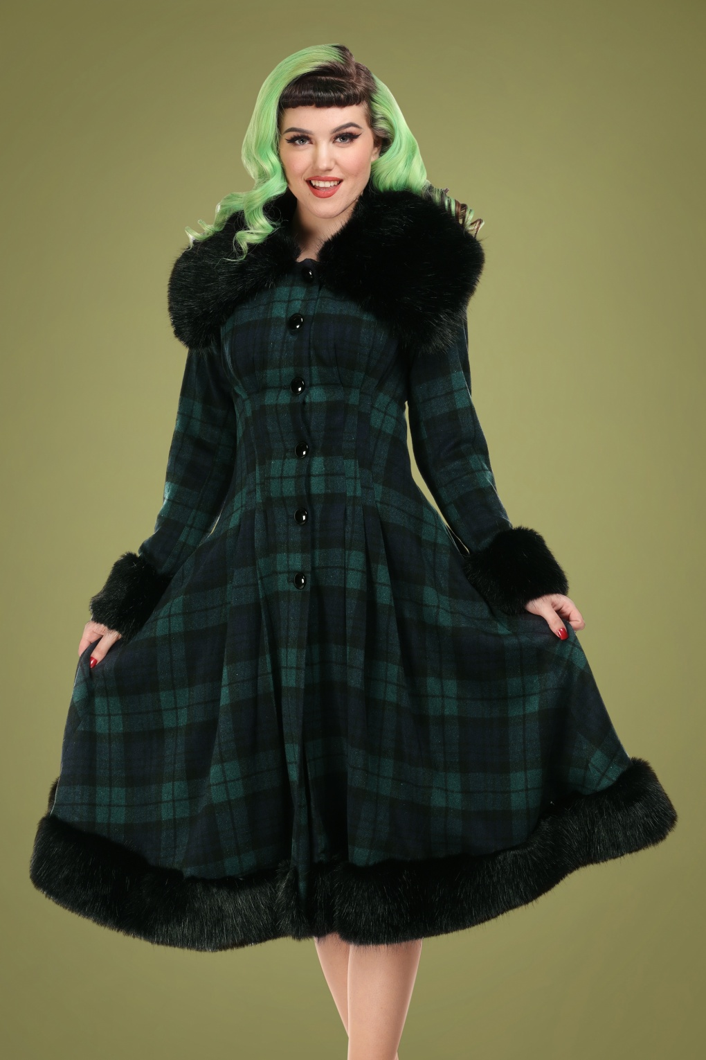 Vintage Coats & Jackets | Retro Coats and Jackets 30s Pearl Coat in Blackwatch Check £188.52 AT vintagedancer.com