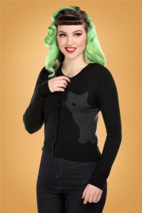 Collectif 29800 Jessie Midnight Cat Cardigan in Black 20190430 021L