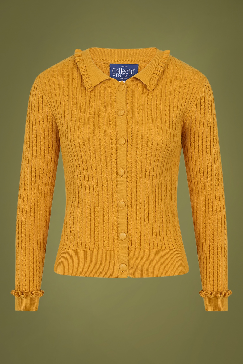 1940s Style Sweaters and Knit Tops 40s Pamela Cardigan in Mustard Yellow £51.14 AT vintagedancer.com
