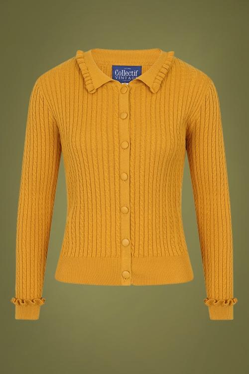 Collectif 29866 Pamela Cardigan in Mustard Yellow 20190730 020LW