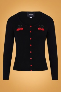 50s Jo Cherry Love Cardigan in Black