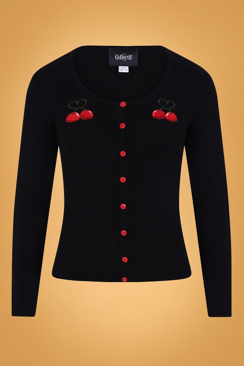 Collectif 29805 Jo Cherry Love Cardigan in Black 20190430 021l