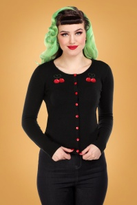 Collectif 29805 Jo Cherry Love Cardigan in Black 20190430 020L