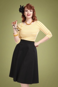 Collectif 29815 Cassie Classic Cotton Swing Skirt in Black 20190430 020L