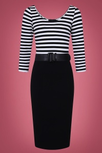 Manuela Striped Pencil Dress Années 50 en Noir et Blanc