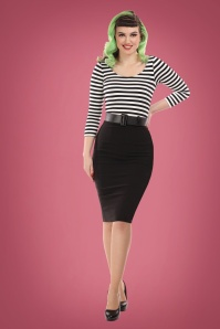 50s Manuela Striped Pencil Dress in Black and White