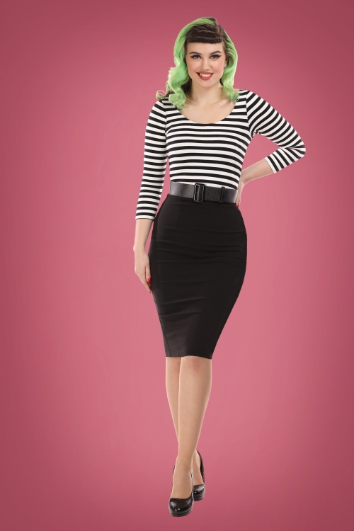 Collectif 29834 manuele striped black and white pencil dress 20190415 020L