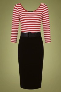 50s Manuela Striped Pencil Dress in Black and Red
