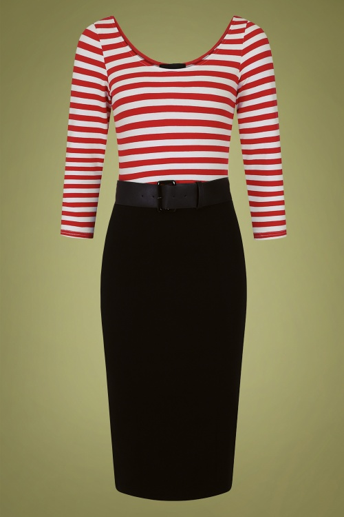 Collectif 29833 manuela striped black and red pencil dress 20190415 021L A