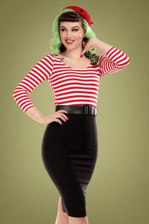 Collectif 29833 manuela striped black and red pencil dress 20190415 020L A