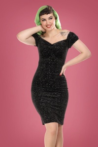 50s Dolores Glitter Drops Pencil Dress in Black