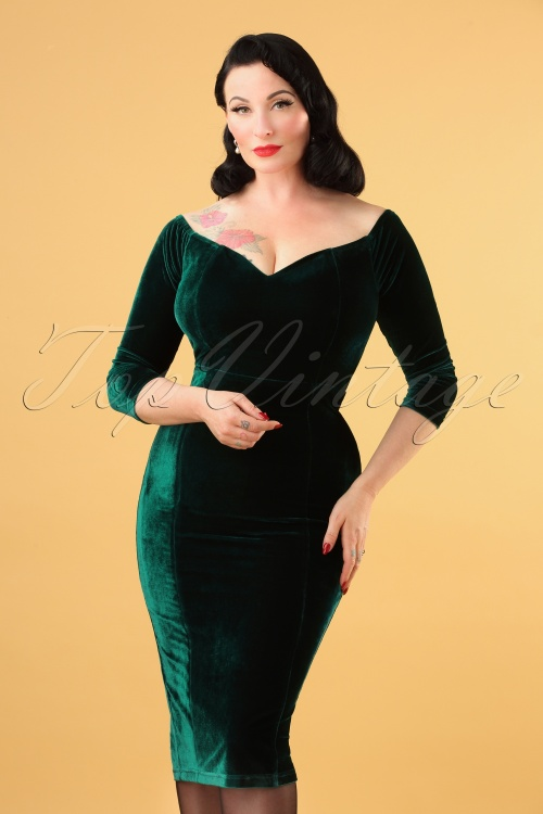Collectif 29829 Anjelica Velvet Pencil Dress in Green 20190730 4823W