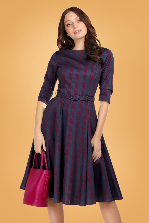 1950s Swing Dresses | 50s Swing Dress 50s Suzanne Triplet Stripes Swing Dress in Navy £71.61 AT vintagedancer.com