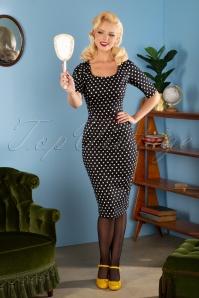 Amber Polkadot Pencil Dress Années 50 en Noir