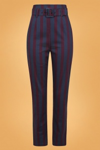 50s Thea Triplet Stripes Trousers in Navy