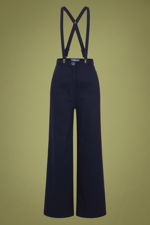 Collectif 29862 Glinda Plain Trousers in Navy 20190430 021W