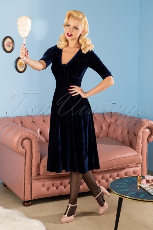 Collectif 29843 Moira Velvet Swing Dress in Navy 20190521 030MW