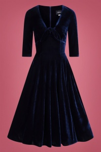 Collectif 29843 Moira Velvet Swing Dress in Navy 20190521 021LW